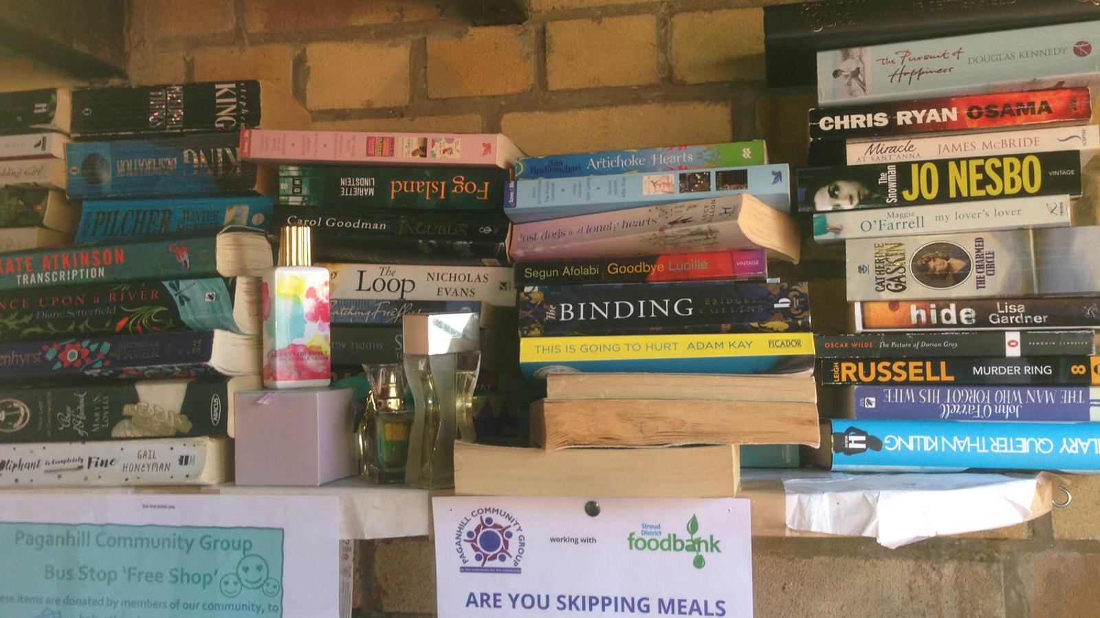 Books donated to the Paganhill Community Project Bus Stop Shop