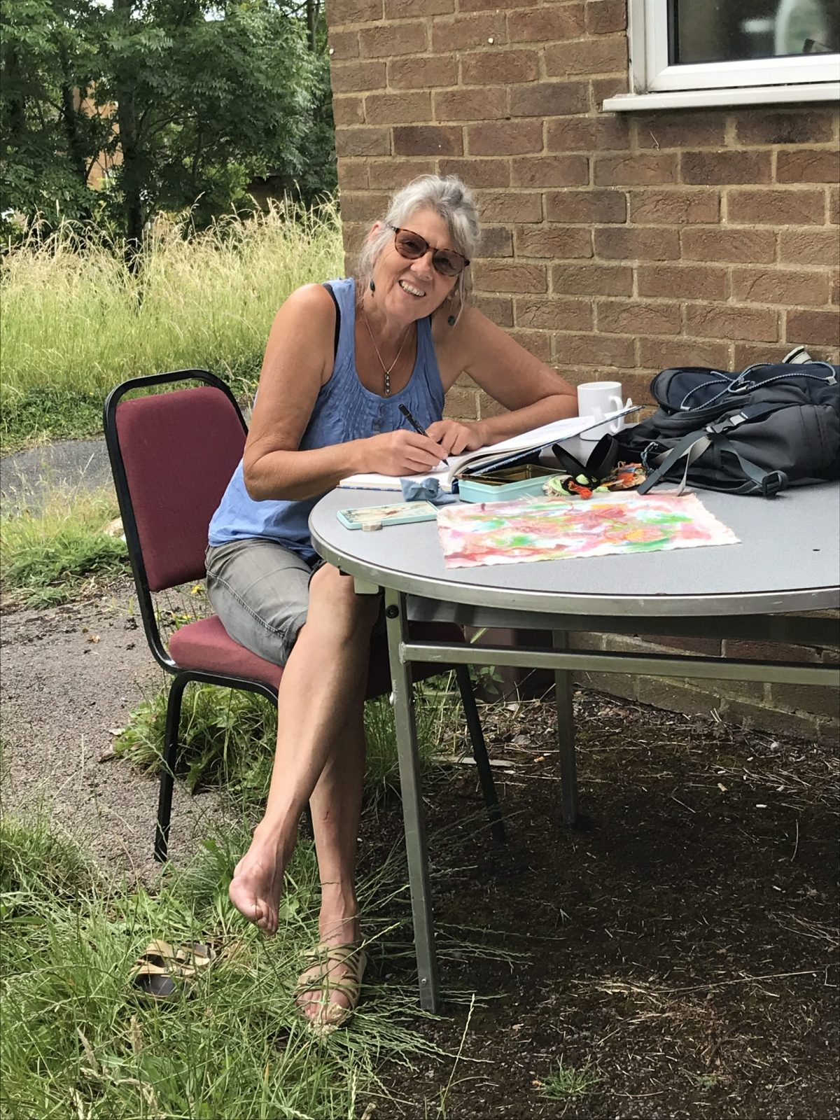 Isabel enjoying art group outdoors