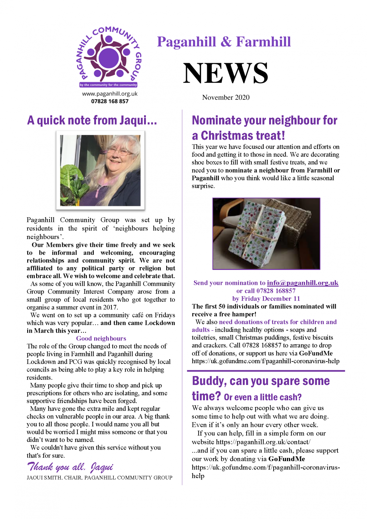 front page of newsletter